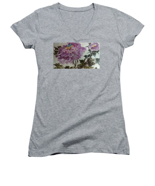 Women's V-Neck T-Shirt (Junior Cut) featuring the painting Peony20170213_1 by Dongling Sun