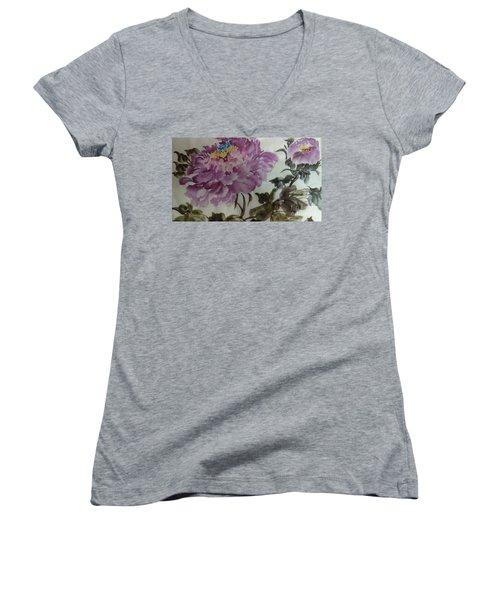 Peony20170213_1 Women's V-Neck T-Shirt