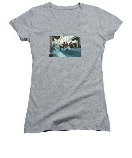 People Women's V-Neck T-Shirt (Junior Cut) by Cesare Bargiggia