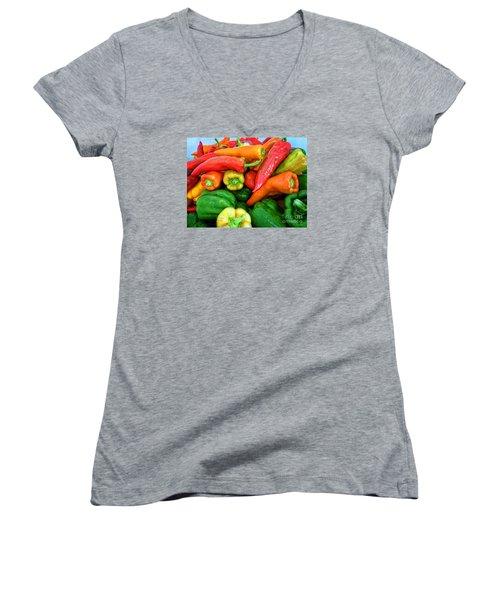 Pepper Medley 1 Women's V-Neck T-Shirt (Junior Cut) by Dee Flouton