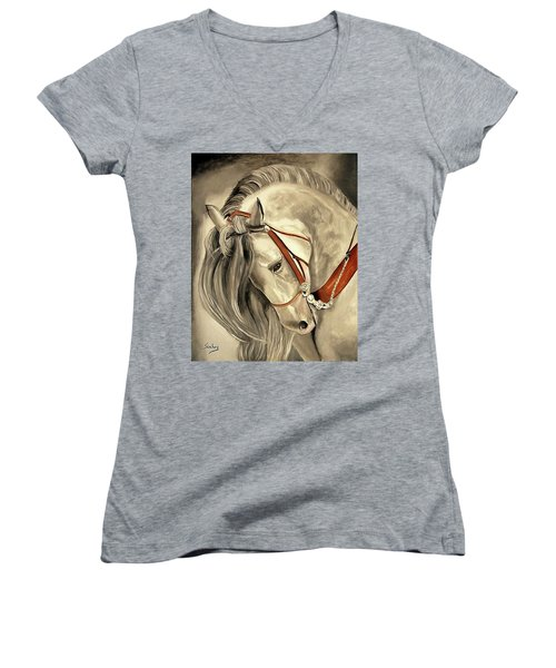 Peralta Andalucian Women's V-Neck T-Shirt (Junior Cut) by Manuel Sanchez