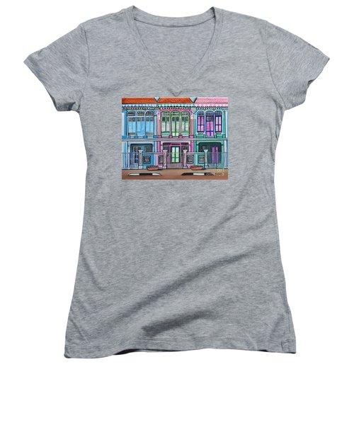 Peranakan Mansion Singapore Women's V-Neck T-Shirt (Junior Cut)