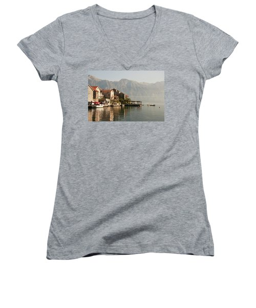 Women's V-Neck T-Shirt (Junior Cut) featuring the photograph Perast Restaurant by Phyllis Peterson