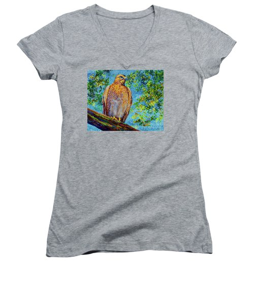 Women's V-Neck T-Shirt (Junior Cut) featuring the painting Perched Hawk by AnnaJo Vahle
