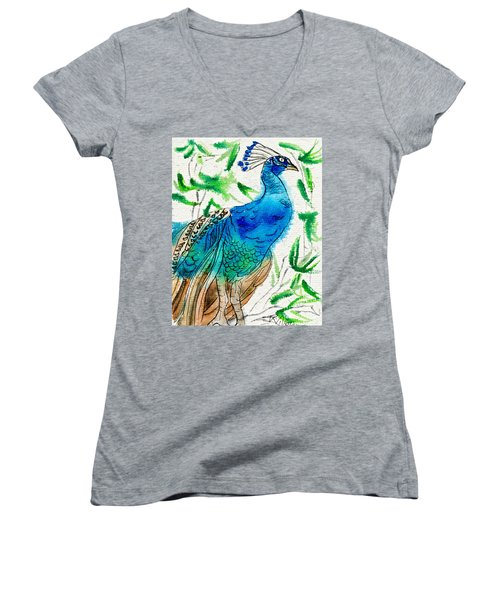 Perched Peacock I Women's V-Neck (Athletic Fit)