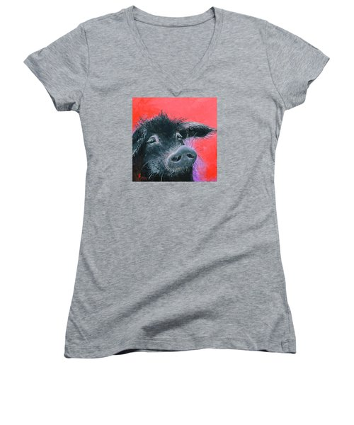 Percival The Black Pig Women's V-Neck T-Shirt