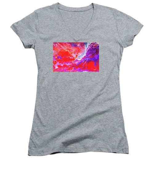 Perfect Love Storm - Colorful Abstract Painting Women's V-Neck T-Shirt (Junior Cut) by Modern Art Prints