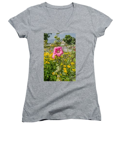 Women's V-Neck T-Shirt (Junior Cut) featuring the photograph Perfect Pink Hollyhocks by Sue Smith