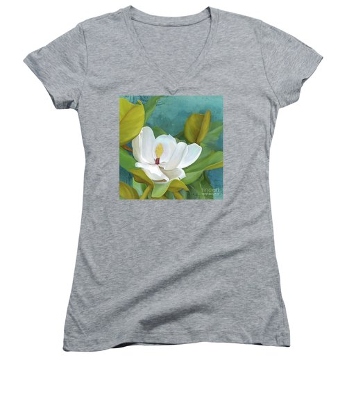 Women's V-Neck T-Shirt featuring the painting Perfection - Magnolia Blossom Floral by Audrey Jeanne Roberts