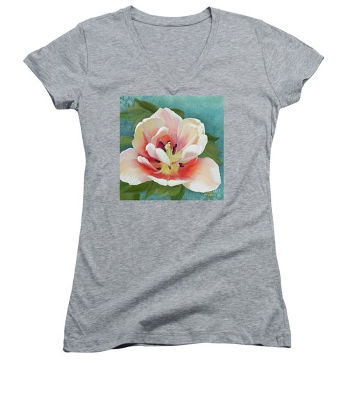 Women's V-Neck T-Shirt featuring the painting Perfection - Single Tulip Blossom by Audrey Jeanne Roberts