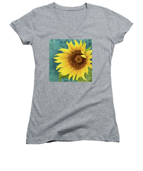 Women's V-Neck T-Shirt featuring the painting Perfection - Russian Mammoth Sunflower by Audrey Jeanne Roberts