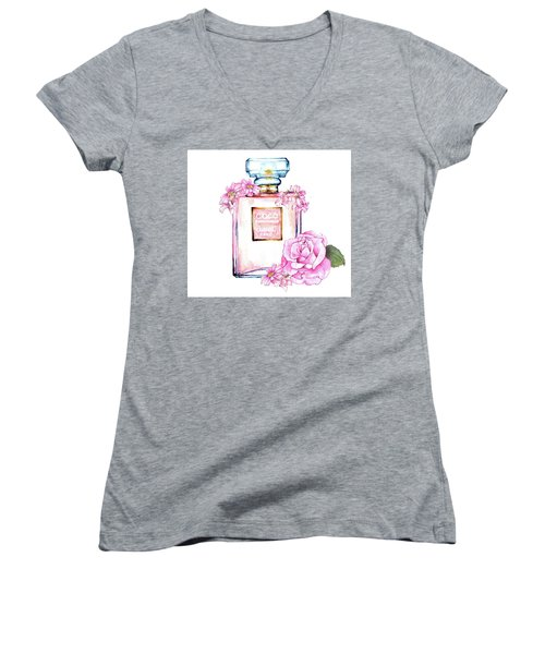 Perfume Florals Women's V-Neck T-Shirt (Junior Cut) by Heidi Kriel