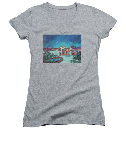 Women's V-Neck T-Shirt (Junior Cut) featuring the painting Perseids Meteor Shower From La Quinta Museum by Diane McClary