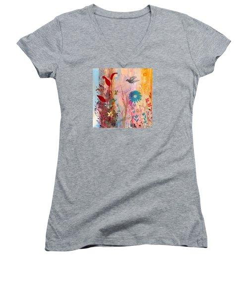 Persephone's Splendor Women's V-Neck T-Shirt (Junior Cut) by Robin Maria Pedrero