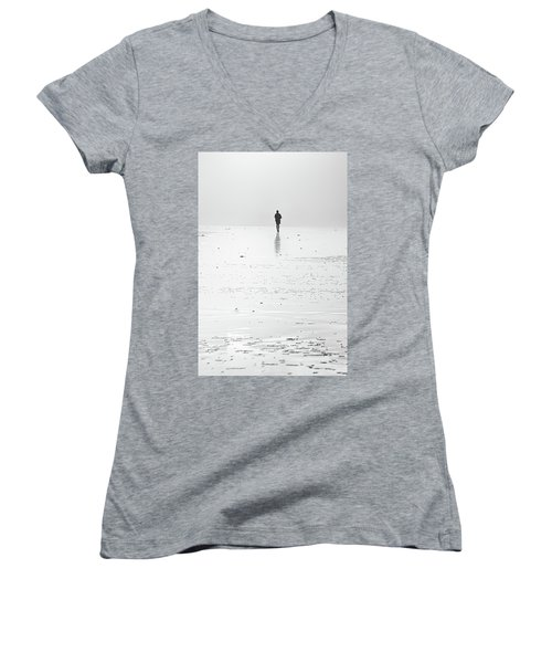 Person Running On Beach Women's V-Neck