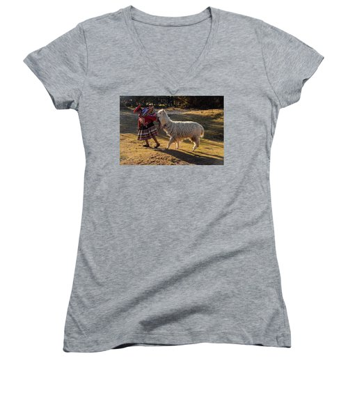 Peru Women's V-Neck T-Shirt (Junior Cut) by Will Burlingham