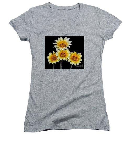 Peruvian Daisies Women's V-Neck T-Shirt (Junior Cut) by Shirley Mangini