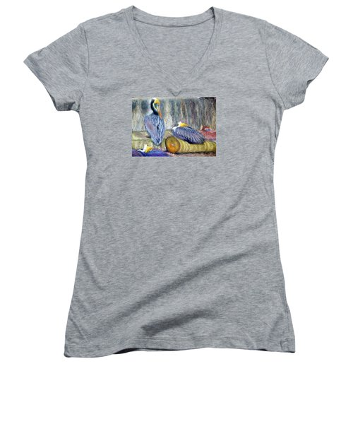 Women's V-Neck T-Shirt (Junior Cut) featuring the pastel Peruvian Pelicans Three Pastel by Antonia Citrino