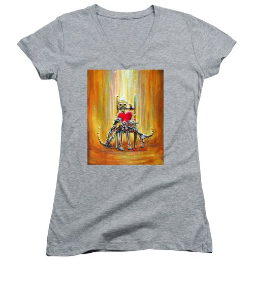 Women's V-Neck T-Shirt (Junior Cut) featuring the painting Pet Love by Heather Calderon