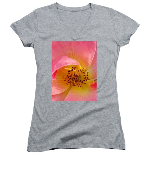 Petal Pink Women's V-Neck T-Shirt (Junior Cut) by Geri Glavis
