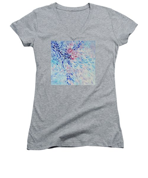 Women's V-Neck T-Shirt (Junior Cut) featuring the painting Petals And Ice by Joanne Smoley