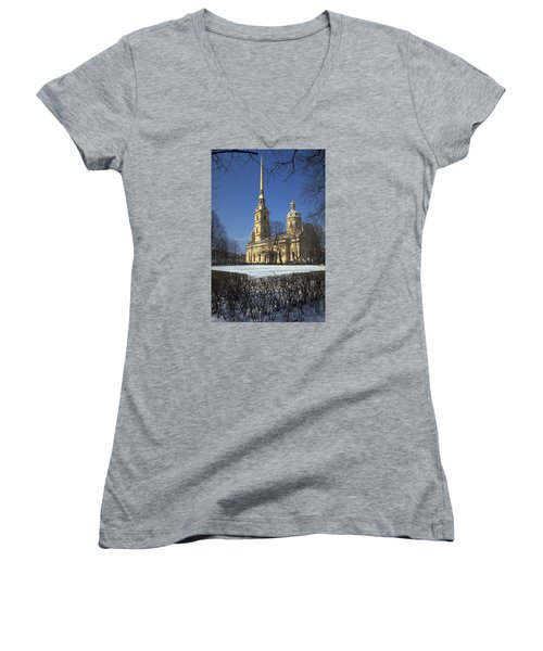 Peter And Paul Cathedral Women's V-Neck T-Shirt (Junior Cut) by Travel Pics