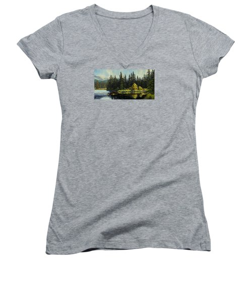Women's V-Neck T-Shirt (Junior Cut) featuring the painting Peterson Lake by Kurt Jacobson