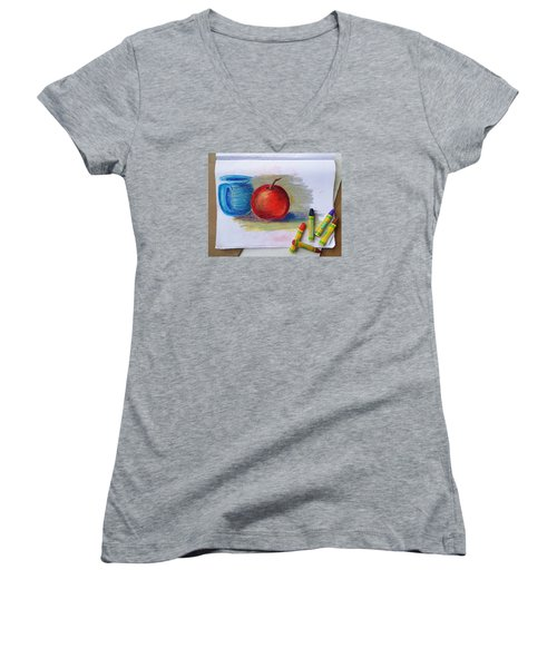 Women's V-Neck T-Shirt (Junior Cut) featuring the drawing Petit Exercice En Pastel L'huile by Ginny Schmidt