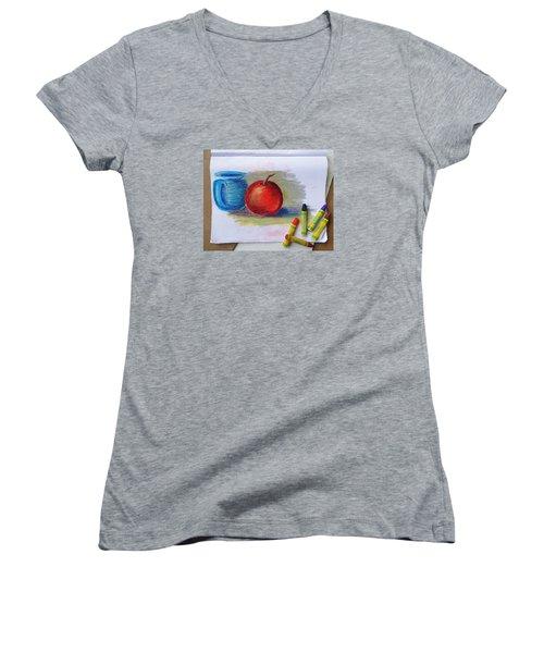 Petit Exercice En Pastel L'huile Women's V-Neck T-Shirt (Junior Cut) by Ginny Schmidt