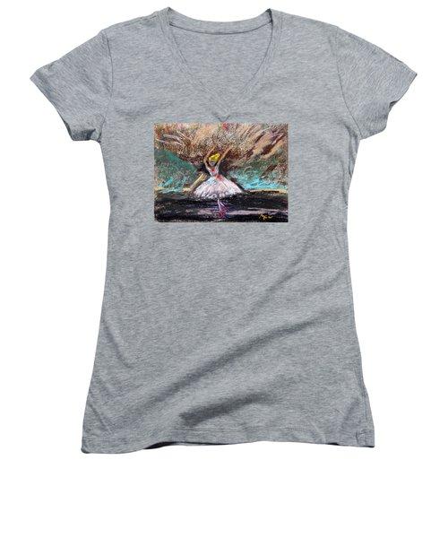 Petite Ballerina Women's V-Neck T-Shirt
