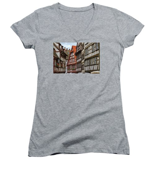 Petite France Houses, Strasbourg Women's V-Neck T-Shirt