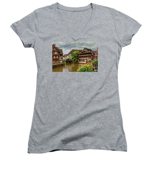 Petite France, Strasbourg Women's V-Neck T-Shirt (Junior Cut) by Elenarts - Elena Duvernay photo