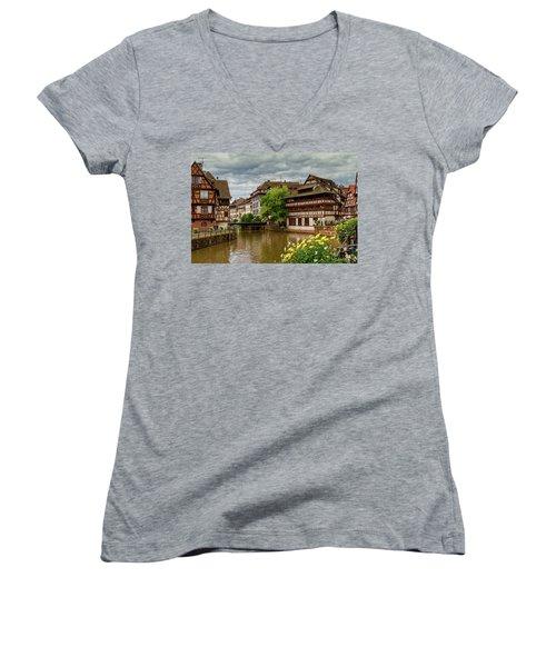 Petite France, Strasbourg Women's V-Neck T-Shirt