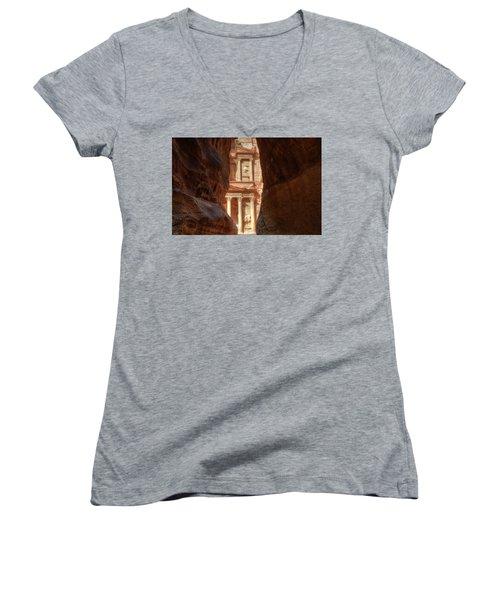 Petra Treasury Revealed Women's V-Neck T-Shirt (Junior Cut)