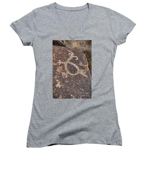 Petroglyph #2 Women's V-Neck T-Shirt (Junior Cut) by Anne Rodkin