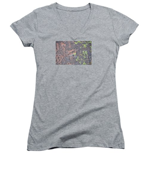 Petroglyph Wolf Attack Women's V-Neck T-Shirt