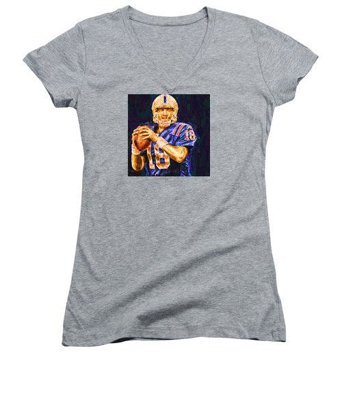 Peyton Manning Indianapolis Colts Nfl Football Painting Digital Women's V-Neck T-Shirt (Junior Cut) by David Haskett
