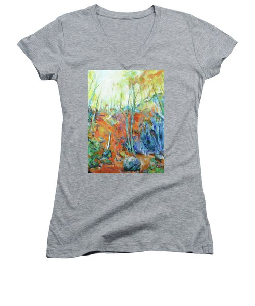 Women's V-Neck T-Shirt (Junior Cut) featuring the painting Pfeil - Arrow by Koro Arandia