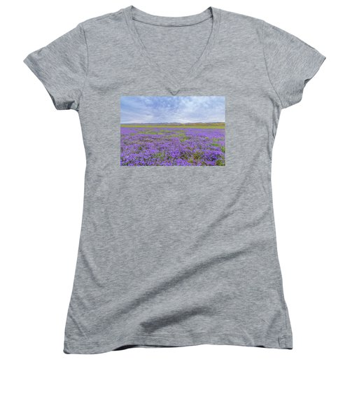 Women's V-Neck T-Shirt (Junior Cut) featuring the photograph Phacelia Field by Marc Crumpler