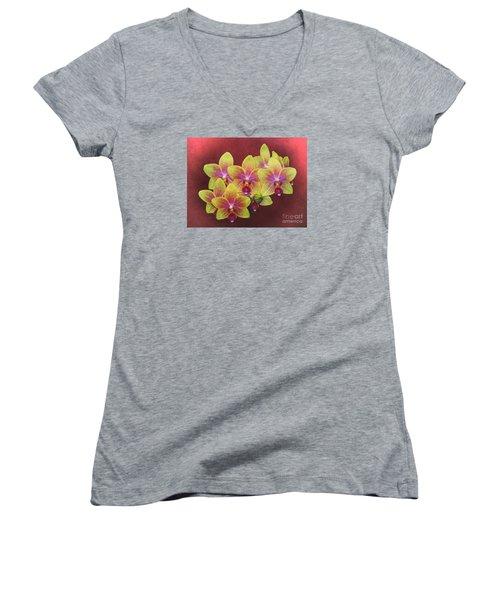 Phalaenopsis Orchid Flower Women's V-Neck T-Shirt