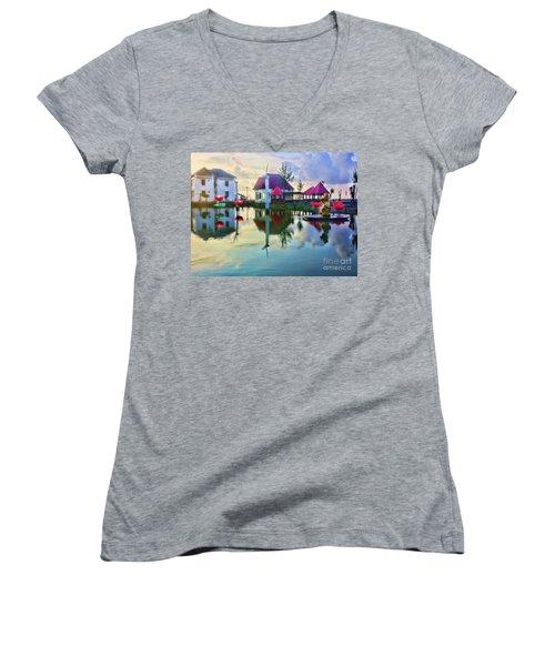 Phan Thiet Coast I Women's V-Neck T-Shirt (Junior Cut) by Chuck Kuhn