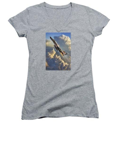 Phantom Cloud Break Women's V-Neck T-Shirt (Junior Cut) by Peter Chilelli