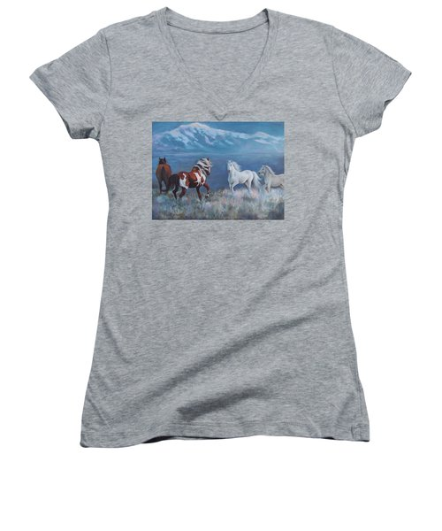 Women's V-Neck T-Shirt (Junior Cut) featuring the painting Phantom Of The Mountains by Karen Chatham