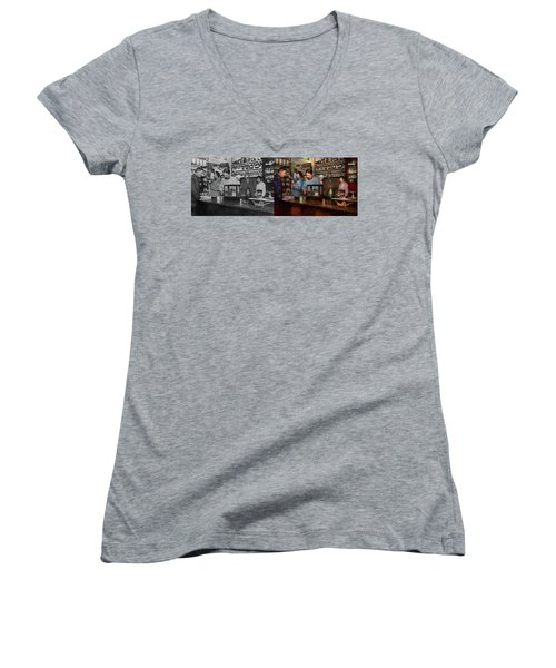 Women's V-Neck T-Shirt featuring the photograph Pharmacy - The Dispensing Chemist 1918 - Side By Side by Mike Savad