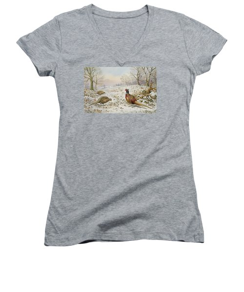 Pheasant And Partridges In A Snowy Landscape Women's V-Neck T-Shirt (Junior Cut) by Carl Donner