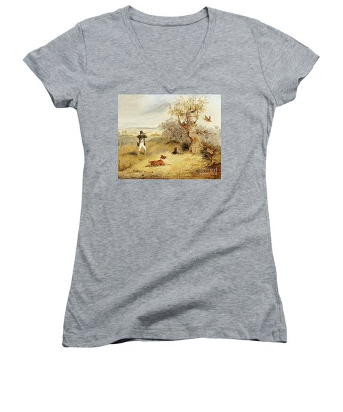Pheasant Shooting Women's V-Neck (Athletic Fit)