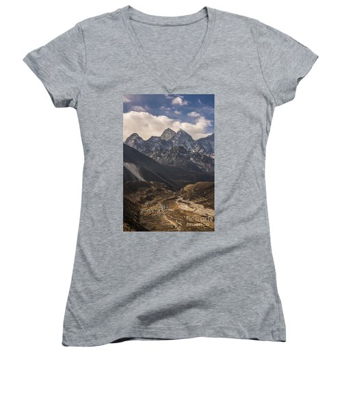 Women's V-Neck T-Shirt (Junior Cut) featuring the photograph Pheriche In The Valley by Mike Reid