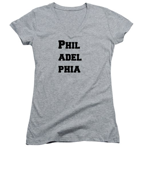 Philadelphia In Pink Women's V-Neck T-Shirt
