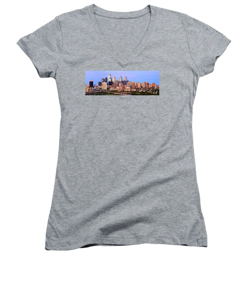 Philadelphia Skyline At Dusk Sunset Pano Women's V-Neck T-Shirt (Junior Cut) by Jon Holiday