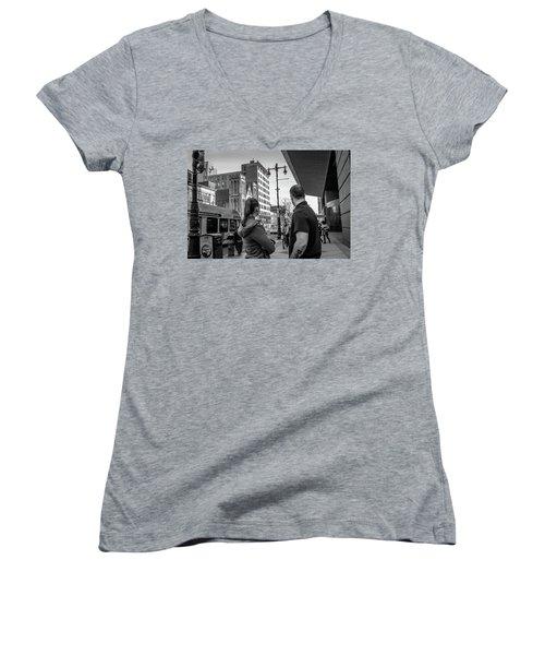 Women's V-Neck T-Shirt (Junior Cut) featuring the photograph Philadelphia Street Photography - Dsc00248 by David Sutton